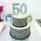 The Big 5-0 black & white nonpareil cake! Customize with any sprinkle mix.