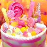 Pink, Orange, and Yellow Candy Cake!