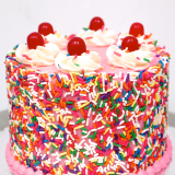 """Birthday Cake B.CANDY Dessert Cake - A smaller standard cake that can have """"Happy Birthday ____"""" written on the cake board."""