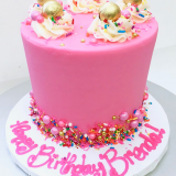 Pink cake with fancy sprinkles!