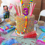 B.CANDY rainbow cake and candy toppings!