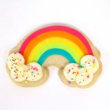 Rainbow sugar cookie close-up.