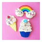 Rainbow, ice cream, & cupcake sugar cookies. Photo by @shopsweetthreads.