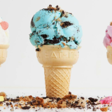 Lucky Charms, Cookie Monster, & Circus Animal Cookie ice cream on cake cones!