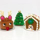 Reindeer mini cake, Christmas tree cake, & gingerbread home!