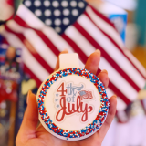 Fourth of July themed mini cakes.