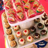 Rainbow Cakes, Mini Cupcakes, Custom Sugar Cookies Display for Kaskade Konnect